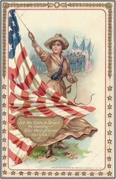 Tuck Patriotic Decoration Memorial Day Postcard 3 Woman Raises U s Flag Vintage Cards, Vintage Images, Vintage Clip, Vintage Photographs, Vintage Style, History Of Memorial Day, Patriotic Images, Patriotic Posters, Patriotic Crafts