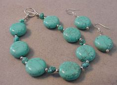 COIN TURQUOISE BRACELET Set with Coin Turquoise by magiccloset, $25.00