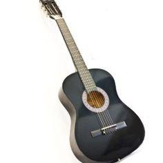 "38"" BLACK Acoustic Guitar Starter Package (Guitar, Gig Bag, Strap, Pick, eBook), (beginner guitar, cheap, acoustic guitar, crescent, acoustic, beginner kits, guitar, inexpensive)"