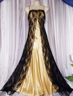 SOLD - M.Vtg.Stunning,gold liquid satin tulle mesh floral lace,vintage nightgown,dress