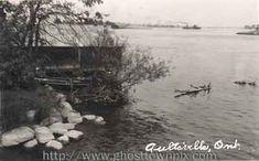 Aultsville, Ontario.  A boathouse along the riverbank.