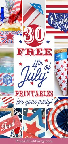 FREE 4th of JULY PRINTABLES for your party. Loads of easy patriotic party ideas for your celebration. Awesome DIY Decorations, bunting, banners, signs for your house, shirts, party printables and more. From rustic to bright and fun. Make beautiful homemade centerpieces. All you need to decorate your party on the cheap. Great for Memorial Day too. Celebrate America. #patriotic #4thofjuly #partydecorations - by Press Print Party!
