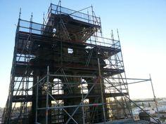 #andamios para la restauración de la Capilla de Montesión, Sevilla. El campanario