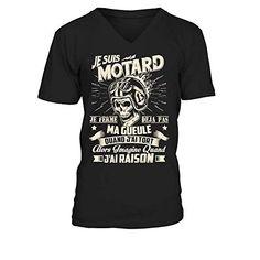 Motard Fran/çais T-Shirt Moto Custom Vintage Gris Taille S /à XL