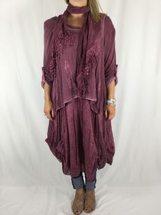 Lagenlook 3 Piece Quirky Net Butterfly Tunic in Wine. 3078