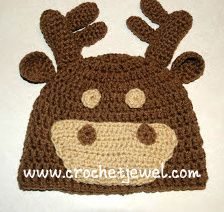 ~ Link correct and pattern is FREE when I checked on March 2015 Crochet Kids Hats, Crochet Baby, Free Crochet, Knit Crochet, Crocheted Hats, Baby Patterns, Crochet Patterns, Moose Hat, Crochet Character Hats