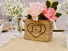 Wedding Centerpiece Rustic wooden box - flower box Table decoration - Country Barnwood style Planter Personalized Heart with Initials Wedding Cake Stands, Unique Wedding Cakes, Wedding Boxes, Diy Wedding, Asking Bridesmaids, Wedding Bridesmaids, Wedding Dresses, Rustic Wooden Box, Wooden Boxes