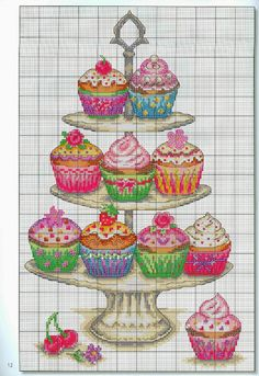 Cupcake cucina dolci punto croce