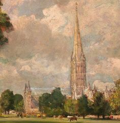"John Constable frequently depicted Salisbury Cathedral's famous spire. In this detail, notice how the lofty steeple pierces the air and attracts attention to the atmosphere around it. The artist called this process ""skying."" He executed this canvas, ""Salisbury Cathedral from Lower Marsh Close,"" on the spot in 1820. #partsofpaintings #artdetail"