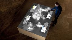 ART + COM: Salt worldwide: The German Salt Museum Lueneburg Interactive Table, with salt crystals that change the display based on touch. #Installation