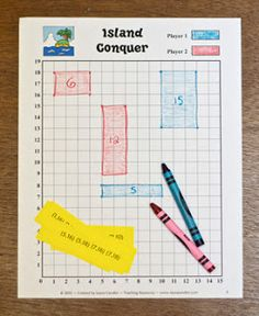 Island Conquer- combines, coordinate points,area and perimeter. This might be a fun game for math stations.  Corkboard Connections: Math Games Make Learning Fun!