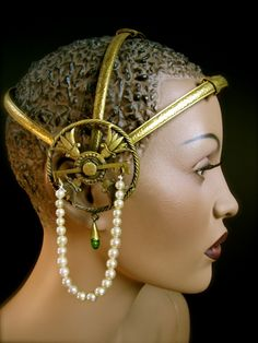 """""""These beautifully hammered metal Art Deco headpieces were the """"must haves"""" of the roaring 20's Egyptian revival period."""""""