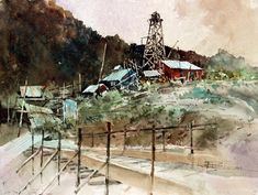 Carl Purcell, Eagle Bluebell mine in Eureka, Utah Amazing Paintings, Utah, Watercolour, Eagle, Sketches, Industrial, Art, Pen And Wash, Drawings