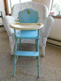 "AMSCO DOLL-E-HIGHCHAIR 1950s VINTAGE METAL CHAIR MEASURES:  29"" TALL BY 12"" WIDE #AMSCO Vintage Metal Chairs, Doll Furniture, 1950s, Dolls, Ebay, Home Decor, Baby Dolls, Decoration Home, Room Decor"