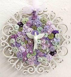 Resultado de imagem para como fazer divino espirito santo em tecido Arte Popular, Xmas Crafts, Nativity, Decoupage, Stencils, Crochet Earrings, Lily, Wreaths, Quilts