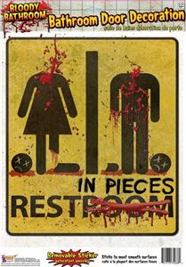 Bloody Restroom Door Sign - 370768 | trendyhalloween.com
