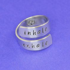 Yoga Wrap Ring Inhale Exhale Ring with Lotus by SilverStatements Lotus Ring, Respiratory Therapy, Inhale Exhale, Customized Gifts, Silver Rings, Bling, Jewels, Diy Jewellery, Jewelry Box