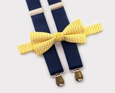 Navy Blue Suspenders, Navy Blue Bow Tie, Suspenders Outfit, Bowtie And Suspenders, Boys Dress Clothes, Wedding Outfit For Boys, Blue Suit Wedding, Yellow Suit, Ring Bearer Outfit