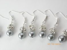 Handmade Sale Set Of 7 Bridesmaid Gray Pearl Earrings 7 Pairs Bridesmaid Rhinestone Earrings Pearl Earrings $79 you could ask Julia to make something like these