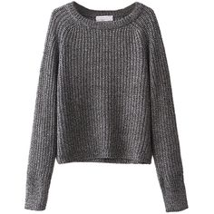 Choies Gray Long Sleeve Baisc Crop Knit Sweater ($30) ❤ liked on Polyvore featuring tops, sweaters, choies, grey, gray crop top, long sleeve tops, long sleeve crop top, grey sweater and grey long sleeve sweater