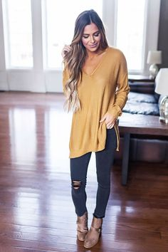 V Neck Sweater- Gold - Dottie Couture Boutique