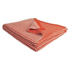 TOPAZ Orange and cream knitted cotton throw 150 x 170cm