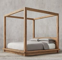 Reclaimed Russian Oak 4-Poster Canopy Bed without Footboard