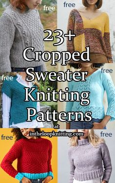 Cropped Sweater Knitting Patterns for cropped pullover sweater tops with short lengths. Most patterns are free.