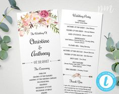 Folded Wedding Program Template  Elegant Green Leaves  Diy