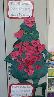 Give the Grinch hearts filled with acts of kindness caught in the classroom! Cover his body and earn a class party. Who doesn't love the Grinch! Grinch Christmas Party, Preschool Christmas, Christmas Door, Christmas Kitchen, Christmas Time, Christmas Ideas, Christmas Activities, Classroom Activities, Classroom Decor