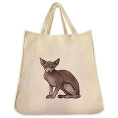 Sphynx Cat Design Extra Large Eco Friendly Reusable Cotton Canvas Tote Bag
