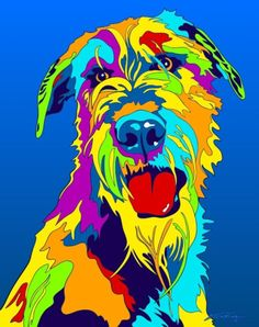 Multi-Color Irish Wolfhound Dog Matted Prints & Canvas Giclées. Hand painted and printed in USA by the artist Michael Vistia. Dog Breed: The Irish Wolfhound is a breed of domestic dog, specifically a