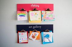 Kid's Personalized Art Board Hanger/ Children's Artwork Display Clip Rack Hanger / Nursery Playroom Decor / Gift Idea on Etsy, $29.99