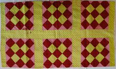 Antique Pennsylvania patchwork pillowcase, 1870-1880, chimney sweep quilt design