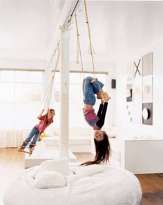 Homemade swing and trapeze with giant floor cushions. For kid's room or family room! Indoor Playhouse, Indoor Swing, Indoor Jungle Gym, Family Room Design, Kids Room Design, Hm Deco, Kids Play Area, Dream Rooms, Kid Spaces