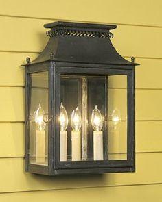 Style#LEWM-1-Coated heavy gauge copper two light full mirror back wall mount cut out lantern. Shown in standard longterne finish.