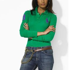 4b12d8b4479e92 Ralph Lauren Femme · Custom-Fit manches longues Polo Vert émeraude Womens  Fashion Uk, Latest Fashion For Women