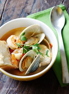 Halibut and Shellfish Soup.A great tasting hearty seafood soup made with halibut, littleneck clams and shrimp. Serve this with a crusty piece of bread and you have yourself a complete meal. Seafood Soup, Seafood Dishes, Seafood Recipes, Soup Recipes, Great Recipes, Cooking Recipes, Shellfish Recipes, Chowder Recipes, Ww Recipes
