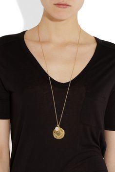 Monica Vinader Marie & Siren 18-karat gold-vermeil moonstone necklace