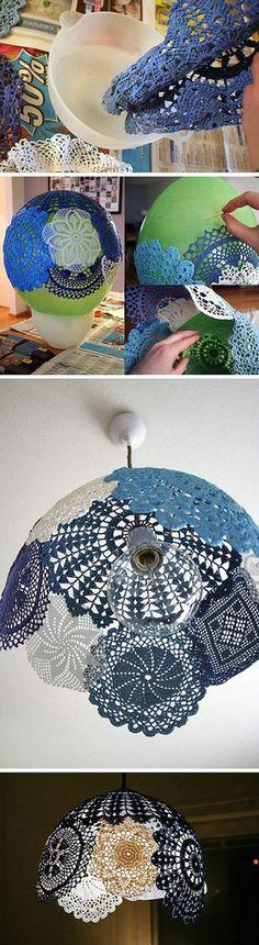 DIY doily lamp shade