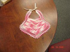 Ravelry: Vintage Baby Bib pattern by ! designer needed Knitting For Kids, Crochet For Kids, Baby Knitting, Free Crochet, Crochet Baby Bibs, Crochet Gifts, Basic Crochet Stitches, Crochet Basics, Bib Pattern