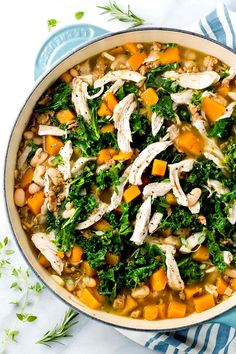 Top view looking down on an open pot of butternut squash soup with shredded pieces of kale and white meat chicken