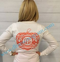 Aztec Pumpkin Monogrammed Long Sleeve by DesignsbyApril1234