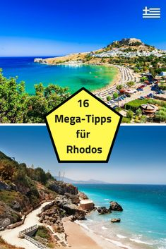 The best activities in Rhodes: diving, surfing, hiking - We have summarized 16 useful tips and tricks for your Rhodes vacation. The Greek holiday island is - Places To Travel, Places To See, Travel Destinations, Road Trip Hacks, Short Trip, Greece Travel, Family Travel, Diving, Beautiful Places