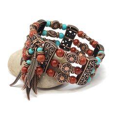 Boho Cuff Bracelet, Southwestern Bracelet, Unisex Bracelet, Red Jasper Bracelet, Christmas in July Hippie Bracelets, Love Bracelets, Fashion Bracelets, Cuff Bracelets, Memory Wire Jewelry, Beaded Cuff Bracelet, Red Jasper, Handmade Jewelry, Boho Jewelry