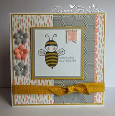 Handmade With Love in N.I. Stampin Up, Baby Bumblebee, Petite Petals, Honeycomb Embossing Folder, Banner Banter, Banner Punch, Petite Petals Punch,