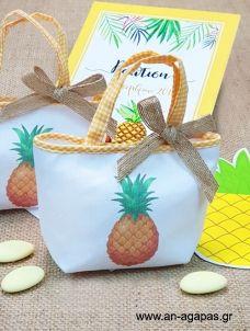 Μπομπονιέρα Βάπτισης Τσαντάκι Tropical Fruit Tropical, Gift Wrapping, Tote Bag, Fruit, Gifts, Bags, Party, Gift Wrapping Paper, Handbags