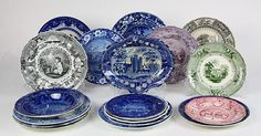 (lot of 17) English scenic decorated blue and white pottery plates, 19th century, including by R - Price Estimate: $1000 - $1500