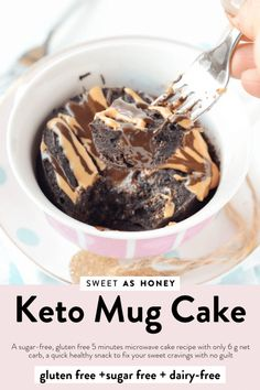 Low Carb Chocolate mug cake with coconut flour - Sweetashoney KETO CHOCOLATE MUG CAKE, a sugar-free, gluten free 5 minutes microwave cake recipe with only 6 g net carb! A quick healthy snack. Keto Chocolate Mug Cake, Keto Mug Cake, Chocolate Mug Cakes, Low Carb Chocolate, Mug Recipes, Lemon Recipes, Cake Recipes, Snacks Recipes, Bread Recipes