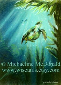 Sea turtle art print from my original pastel painting, Meditation featuring a sea turtle under the water surrounded by a kelp forest with streaks of sunlight streaming through. Nice addition to a beach house or nautical theme decor. Sea Turtle Painting, Kelp Forest, Ocean House, Pastel Art, Sea Turtles, Limited Edition Prints, Sunlight, Art Work, Fantasy Art